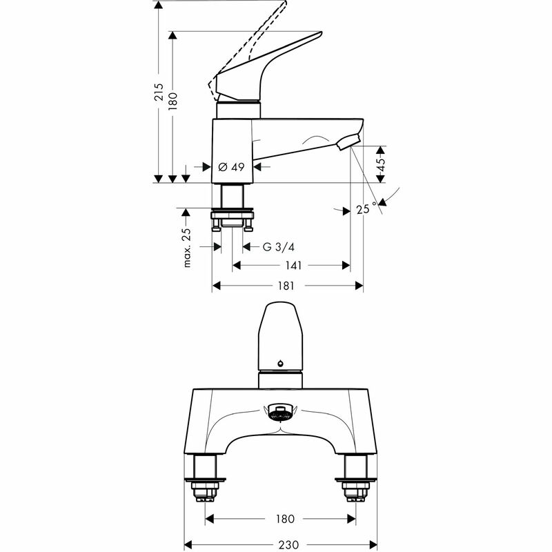hansgrohe | Focus | 31523000 | Bath Mixer/Filler | Technical Drawing
