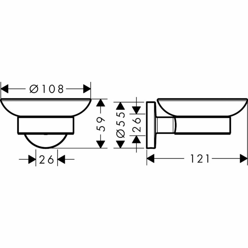 hansgrohe   Logis Universal   41715000   Soap dishes/dispenser   Technical Drawing