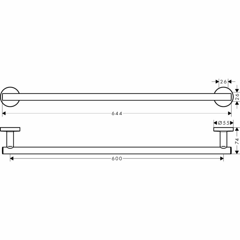 hansgrohe | Logis Universal | 41716000 | Towel Holder | Technical Drawing