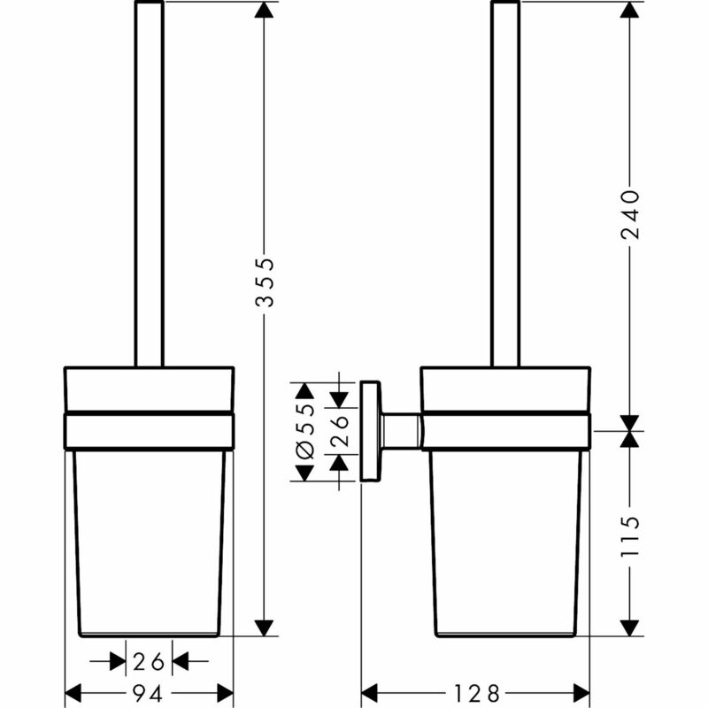 hansgrohe | Logis Universal | 41722000 | Toilet Brush Holder | Technical Drawing