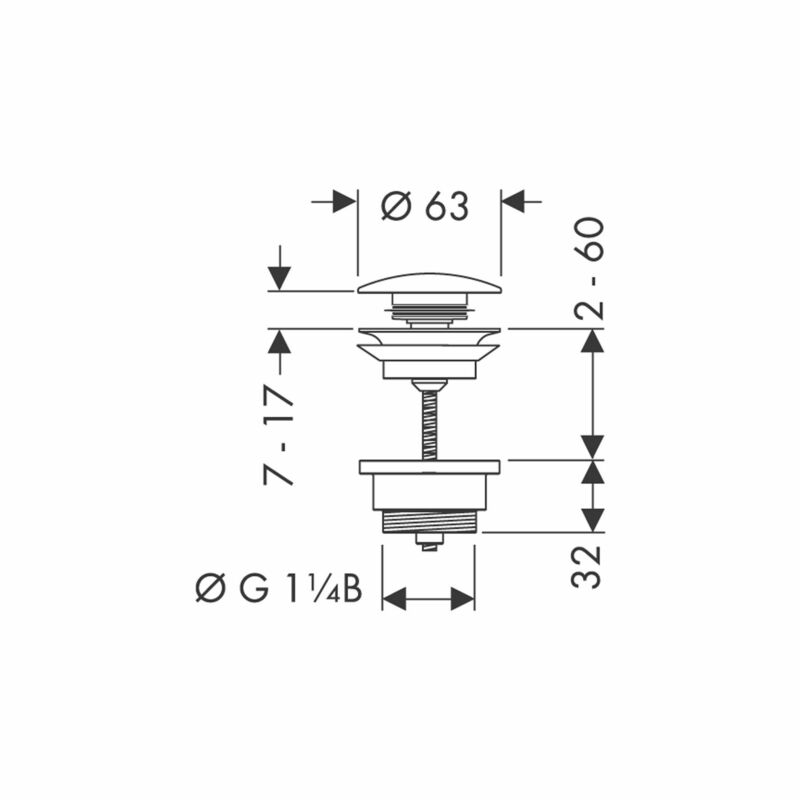 hansgrohe | 0 | 50100000 | Basin Waste | Technical Drawing