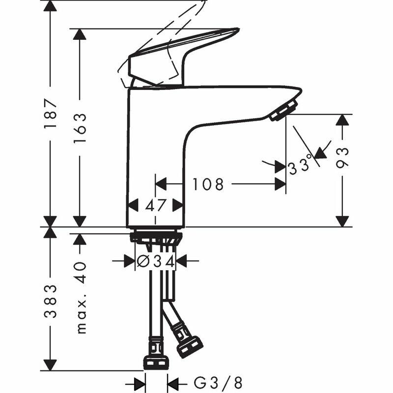 hansgrohe | Logis | 71101000 | Basin Mixer | Technical Drawing
