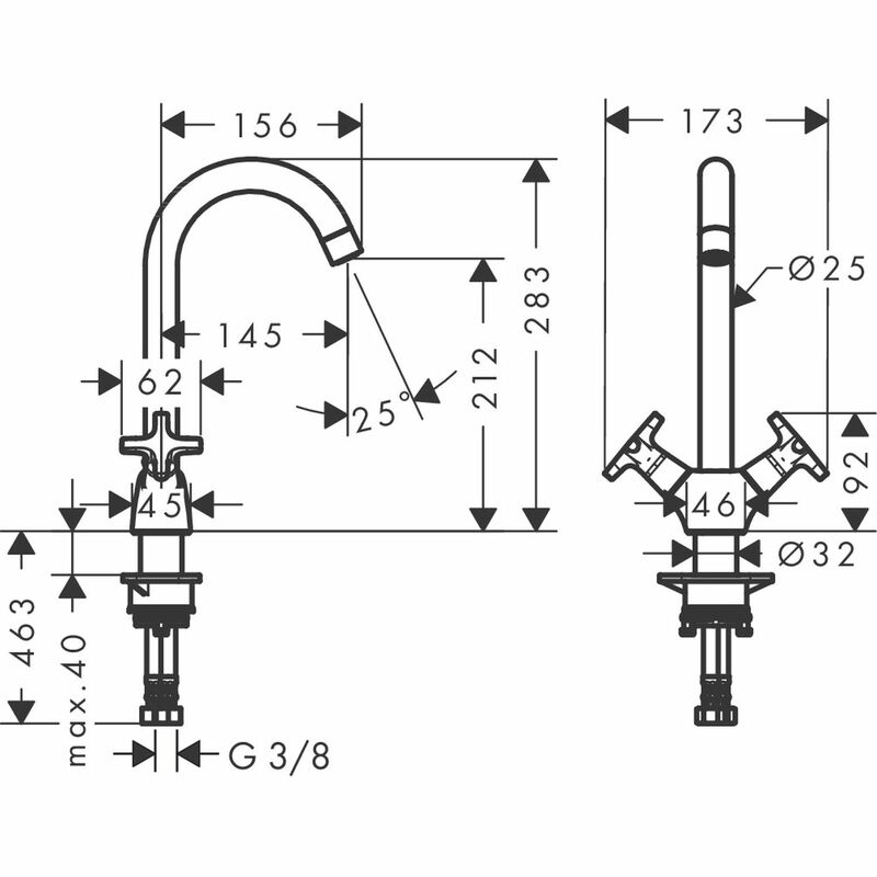 hansgrohe | Logis | 71285000 | Kitchen Sink Mixer | Technical Drawing