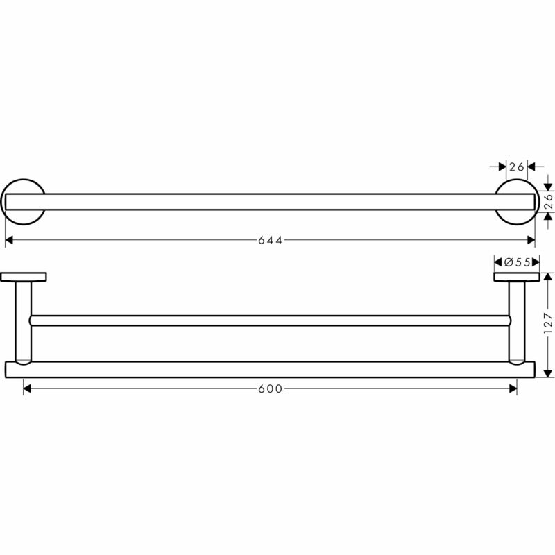 hansgrohe   Logis Universal   41712000   Towel Holder   Technical Drawing