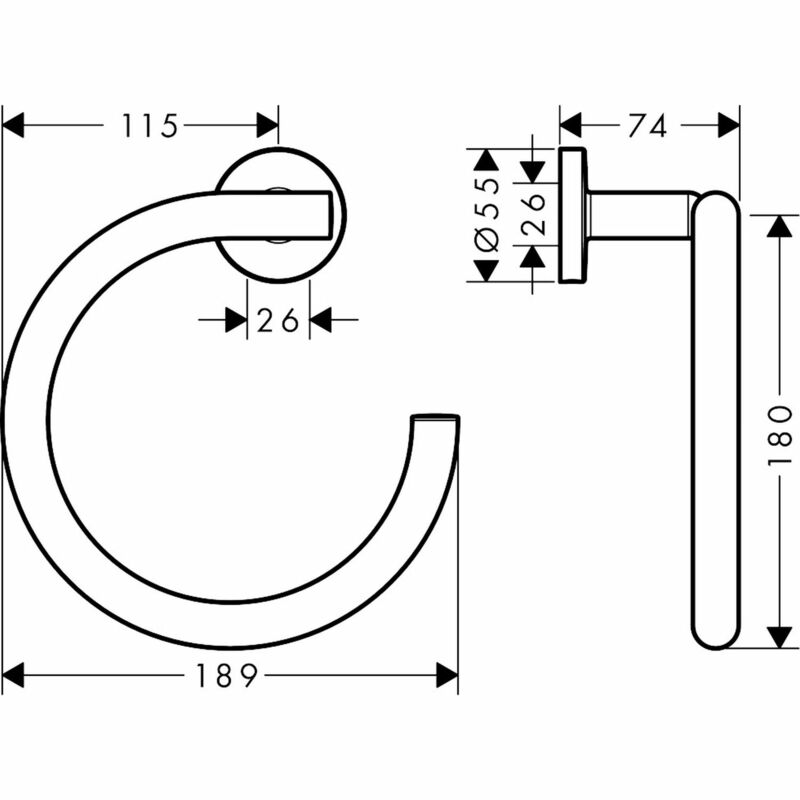 hansgrohe | Logis Universal | 41724000 | Towel Holder | Technical Drawing