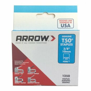 Arrow T5038 T50 Staples 10mm (3/8in) 1250 Pack