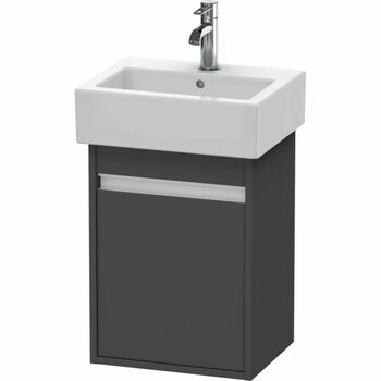 Duravit Ketho KT6630L4949 400x550 Wall Mounted Left Hand Vanity Unit Graphite Matt