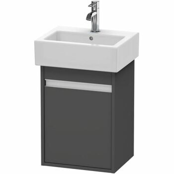 Duravit Ketho KT6630R4949 400x550 Wall Mounted Right Hand Vanity Unit Graphite Matt