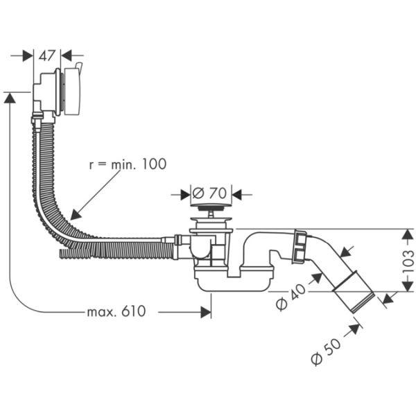 hansgrohe | Flexaplus S | 58141180 | Bath Waste | Tech
