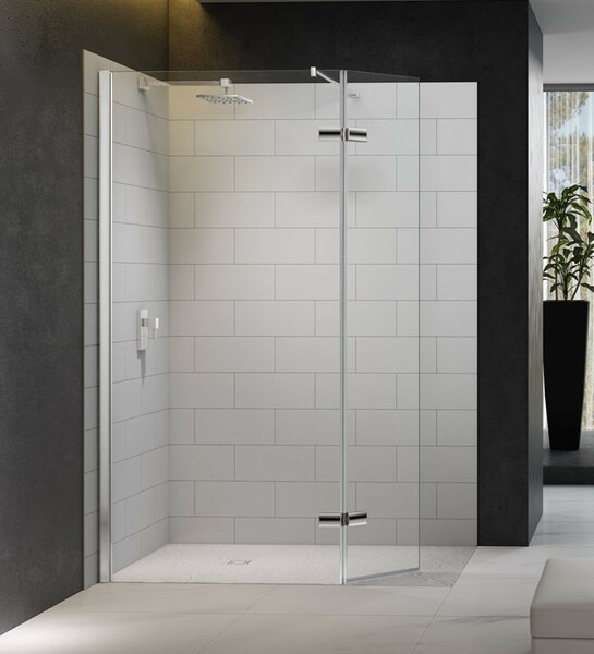 Merlyn 8 Series M8SW800HB Walk In with Hinged Swivel Panel Including 1500 x 900mm Merlyn Mstone Tray