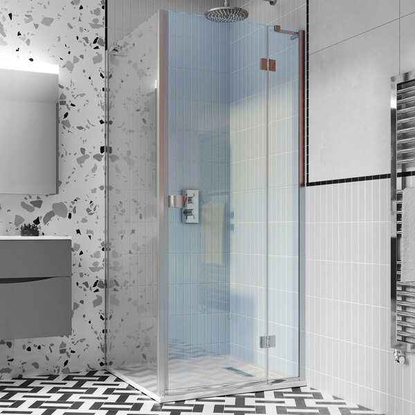 Crosswater Design 8 DHDSC1200+ 1200mm Hinged Shower Door with Inline Panel
