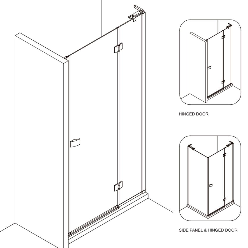 Crosswater   Design 8   DHDSC1200+   Shower Door   Outline