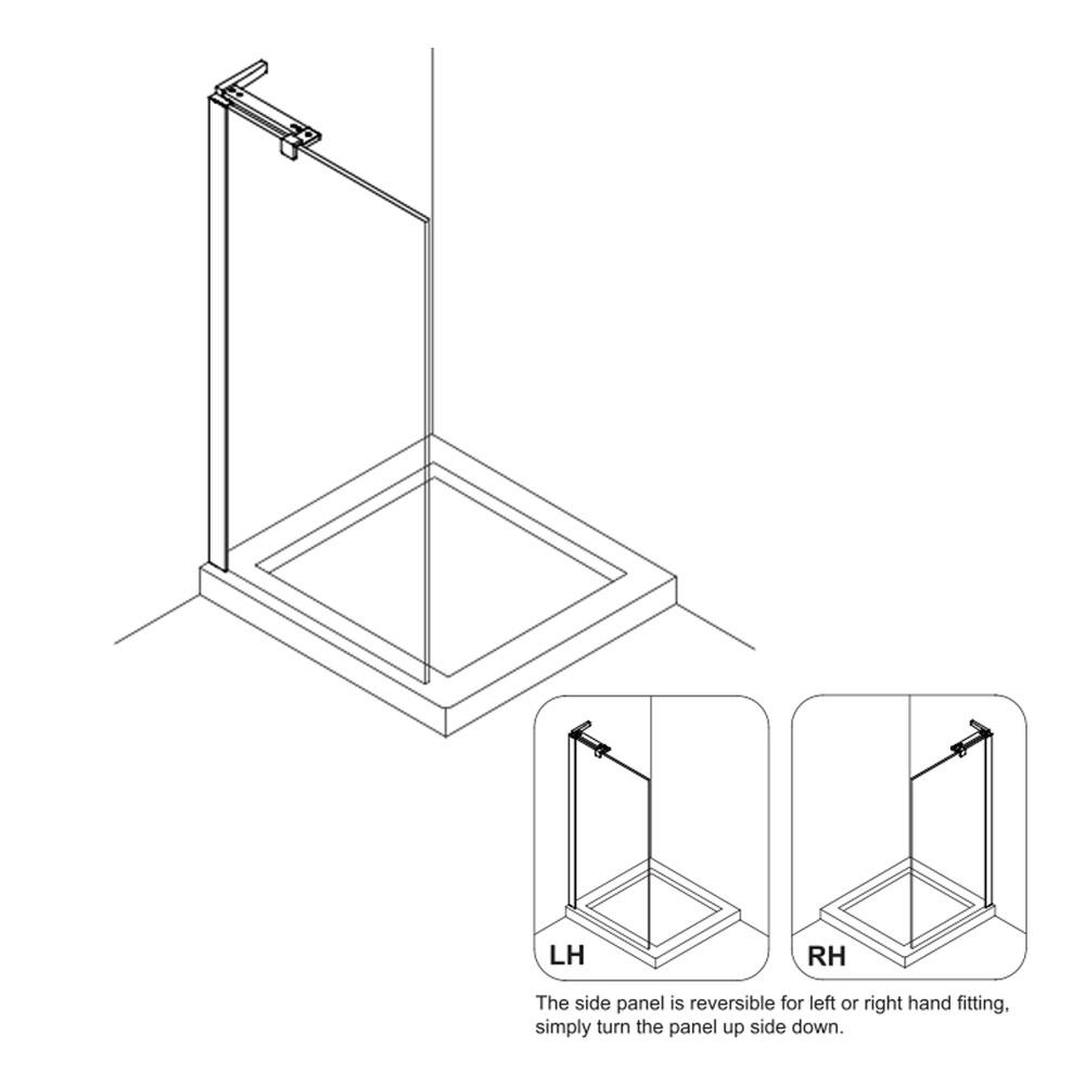 Crosswater | Design 8 | DSPSC0800+ | Shower Door | Outline